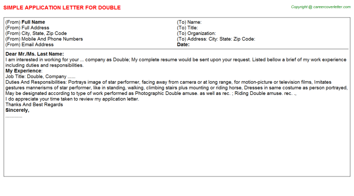 Double Application Letter Template
