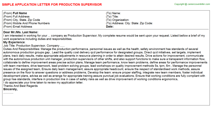 Production Supervisor Application Letter Template