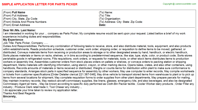 Parts Picker Application Letter Template