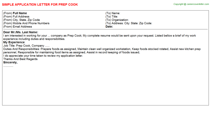 Prep Cook Application Letter Template