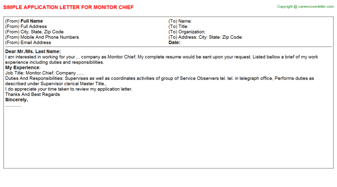 Monitor Chief Application Letter Template