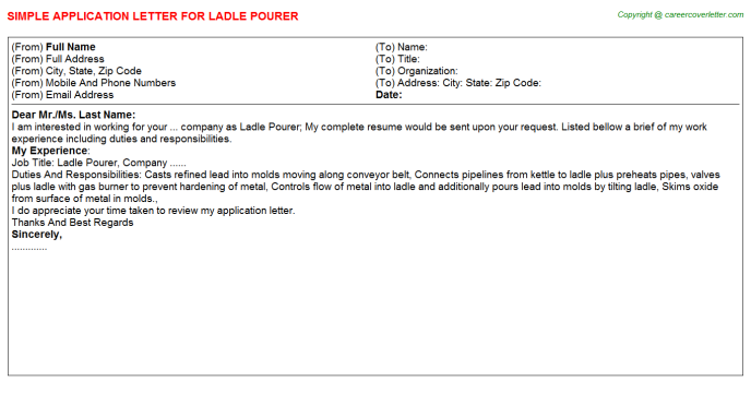 ladle pourer application letter template