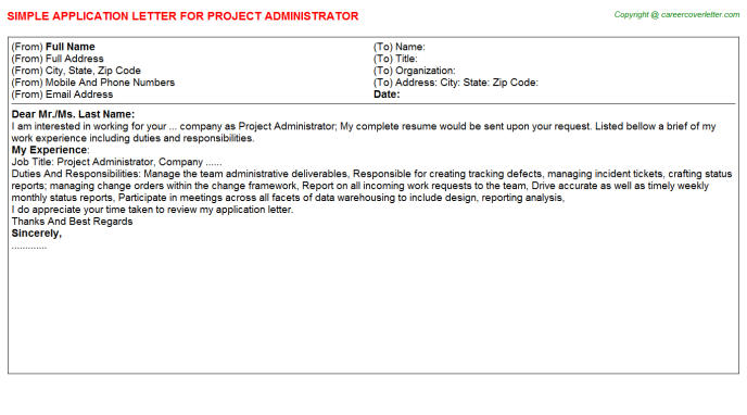 Project Administrator Application Letter Template