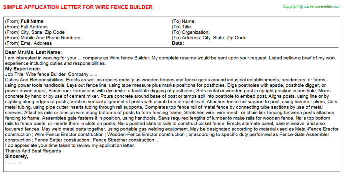 Wire fence Builder Application Letter Template