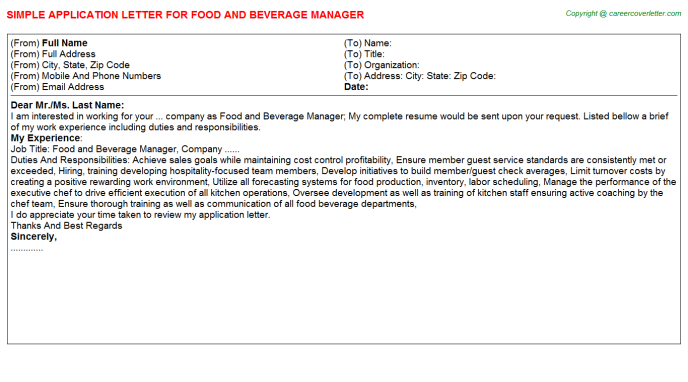 Food And Beverage Manager Application Letter Template