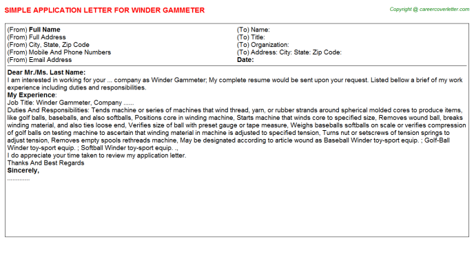 Winder Gammeter Application Letter Template
