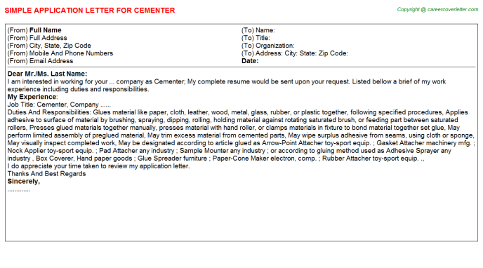 Cementer Application Letter Template
