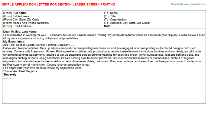 Section Leader Screen Printing - Free Docs Templates Downloads