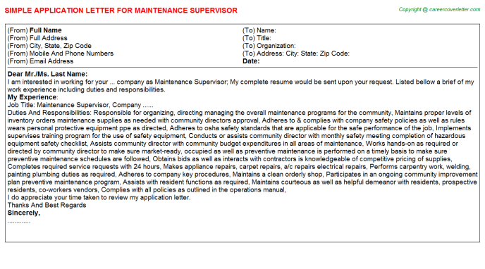 Maintenance Supervisor Application Letter Template