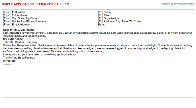 Caulker Job Application Letter Template