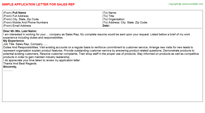 Sales Rep Application Letter Template