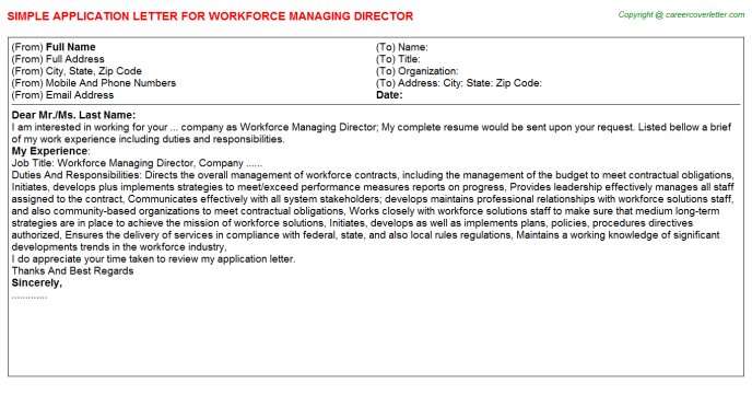 Workforce Managing Director Application Letter Template