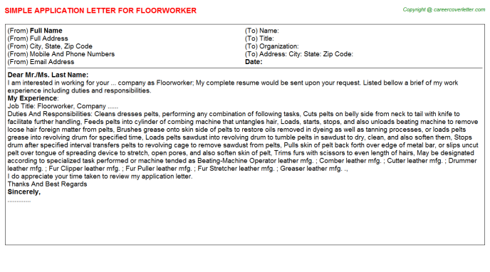 Floorworker Application Letter Template