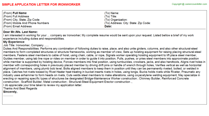 Ironworker Application Letter Template