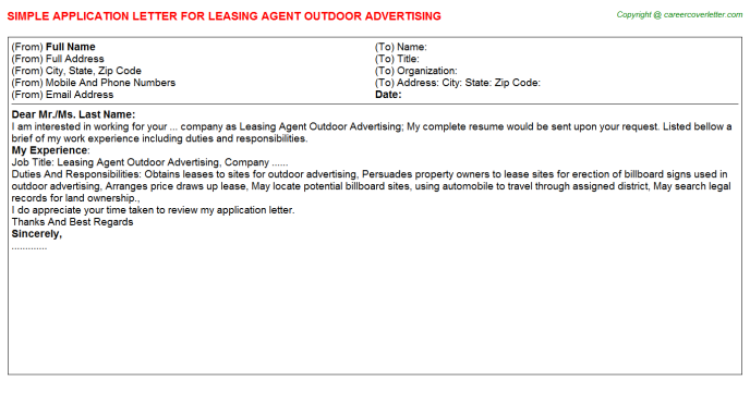Leasing Agent Outdoor Advertising Application Letter Template