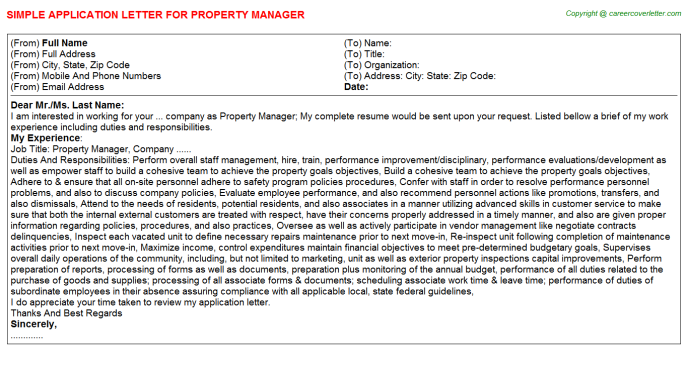 Property Manager Application Letter Template