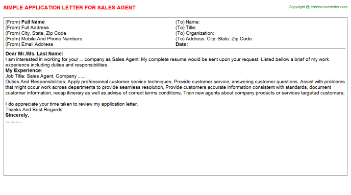 Sales Agent Application Letter Template
