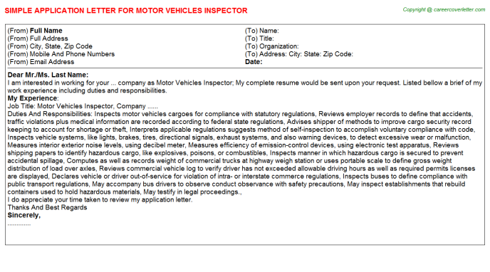 Motor Vehicles Inspector Application Letters | Application Letters