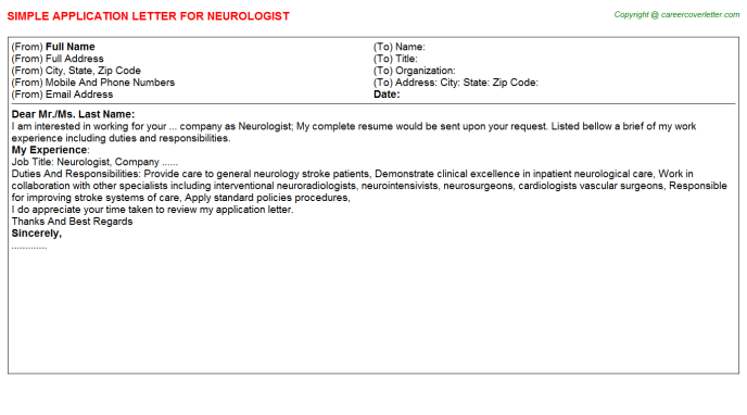 Neurologist Application Letter Template