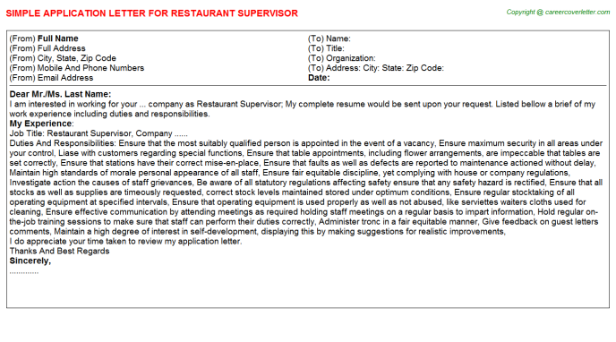 Restaurant Supervisor Application Letter Template