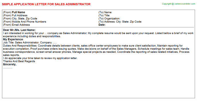 Sales Administrator Application Letter Template