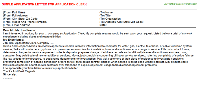 Application Clerk Job Application Letter Template