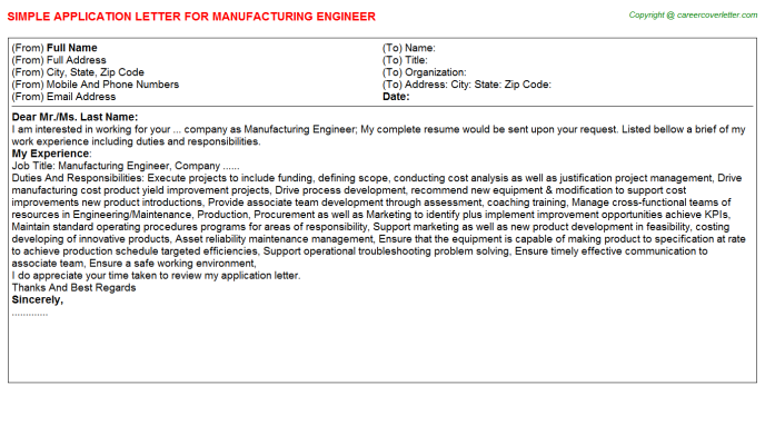 Manufacturing Engineer Application Letter Template