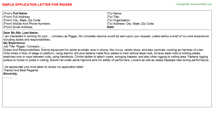 rigger job application letters