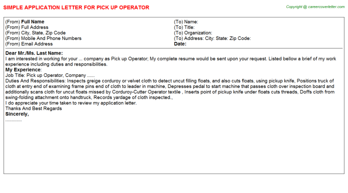 Pick Up Operator Application Letter Template