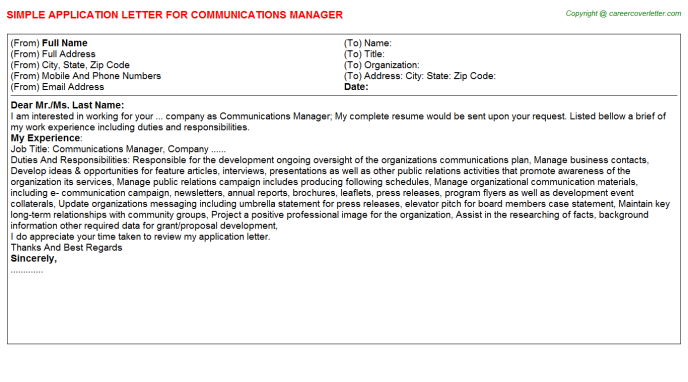 Communications Manager Application Letter Template