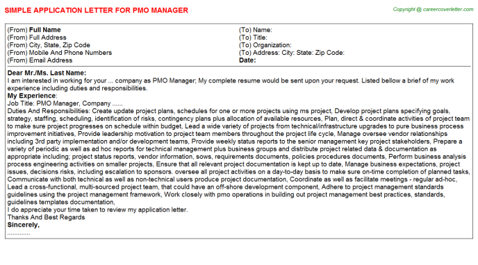 Pmo Manager Application Letter Template