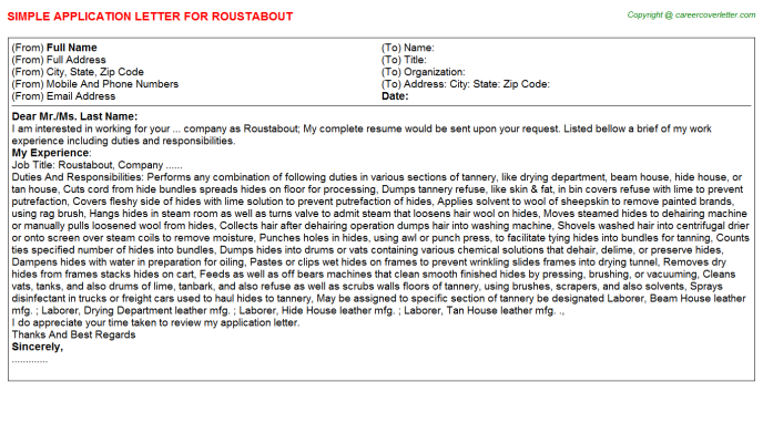 Roustabout Job Application Letter Template