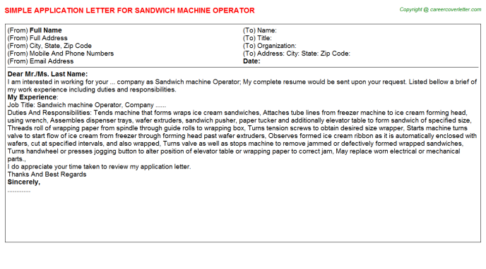 sandwich machine operator application letter template