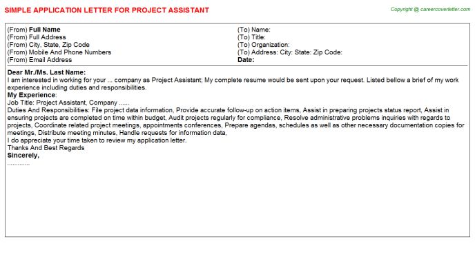 Project Assistant Application Letter Template