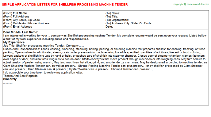 shellfish processing machine tender application letter template