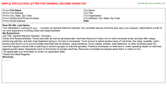 General Machine Operator Application Letter Template