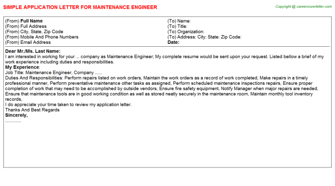 Maintenance Engineer Application Letter Template