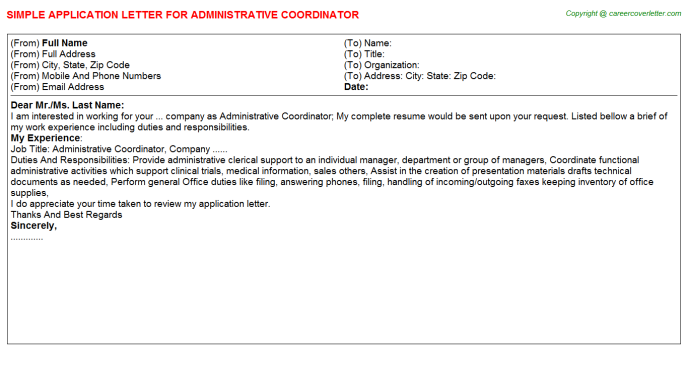 Administrative Coordinator Application Letter Template