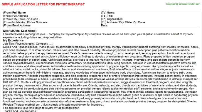 Physiotherapist Job Application Letter Template