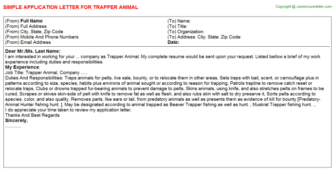 trapper animal application letter template