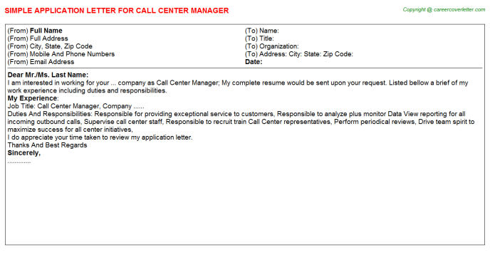 Call Center Manager Application Letter Template