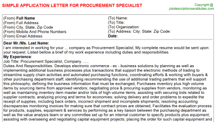 Procurement Specialist Job Application Letter Template