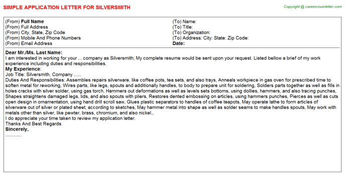 Silversmith Job Application Letter Template