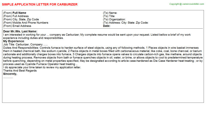 Carburizer Application Letter Template