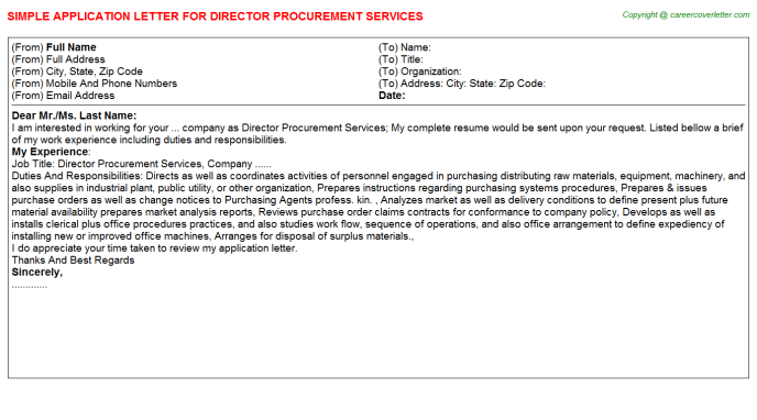 Director Procurement Services Job Application Letter Template