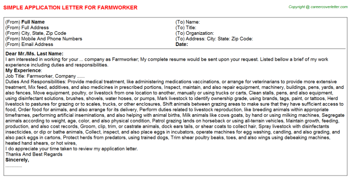 Farmworker Application Letter Template