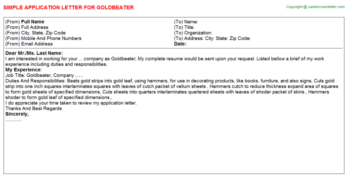 Goldbeater Application Letter Template
