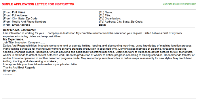 Instructor Application Letter Template