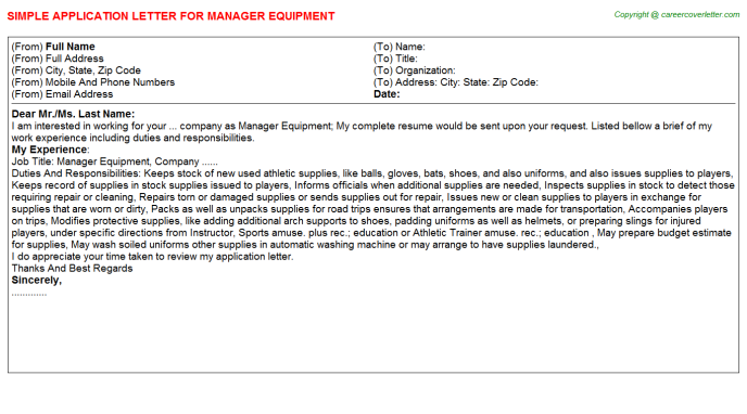 Manager Equipment Application Letter Template