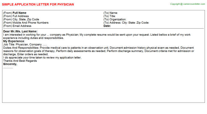Physician Job Application Letter Template